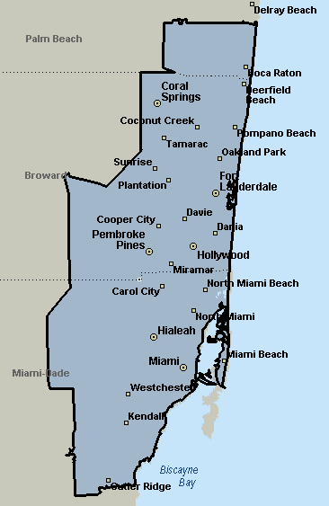 Fort Lauderdale, Florida Courier & Delivery Service Coverage Map