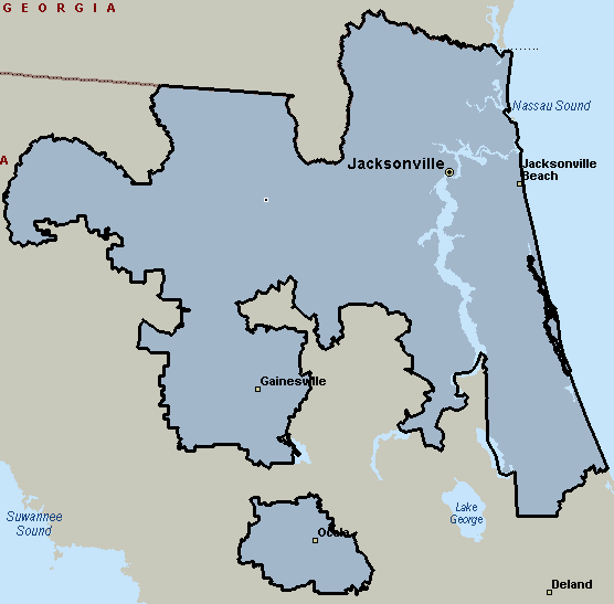 Jacksonville, Florida Courier & Delivery Service Coverage Map