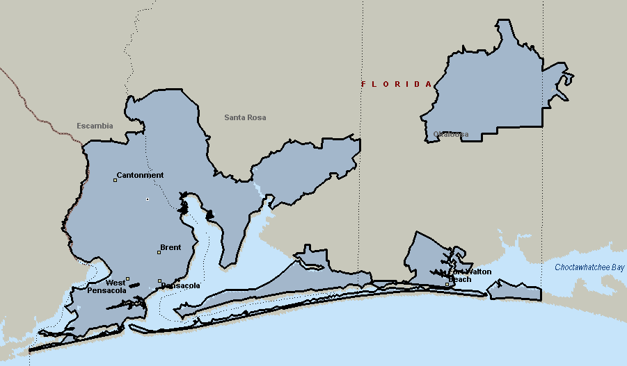 Pensacola, Florida Courier & Delivery Service Coverage Map