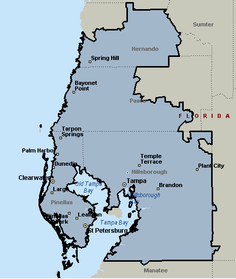 Tampa, Florida Courier & Delivery Service Coverage Map